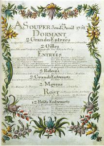 Menu d'un souper au château de Choisy, le jeudi 29 avril 1751.