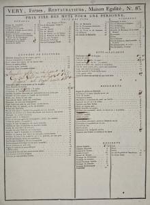 Menu des restaurateurs Véry, au Palais Royal à Paris, 1790-92, Bibliothèque historique de la ville de Paris.