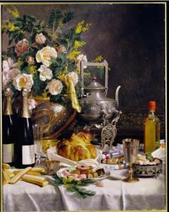 Jules larcher, Bouteille de champagne, pain, biscuits et gâteaux sur une table nappée,1889, coll. part.