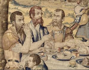 """Détail, tapisserie de la tenture des """"Fructus Belli"""", le dîner du général (1546-1548), Musée de la Renaissance, Château d'Ecouen"""